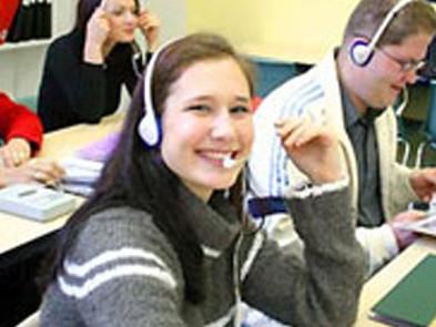 商业与语言学院的听力课堂